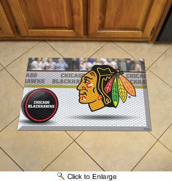 "Fan Mats 19134  NHL - Chicago Blackhawks 19"" x 30"" Scraper Mat - Puck Design"