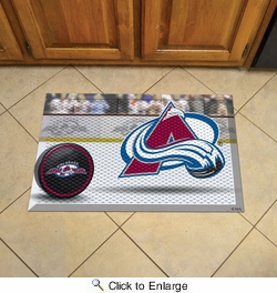 "Fan Mats 19136  NHL - Colorado Avalanche 19"" x 30"" Scraper Mat - Puck Design"