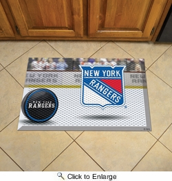 "Fan Mats 19160  NHL - New York Rangers 19"" x 30"" Scraper Mat - Puck Design"