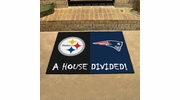 """Fan Mats 19245  NFL - Pittsburgh Steelers vs New England Patriots 33.75"""" x 42.5"""" House Divided Mat"""