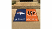 "Fan Mats 19295  NFL - Denver Broncos vs Cincinnati Bengals 33.75"" x 42.5"" House Divided Mat"