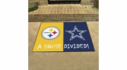 "Fan Mats 19316  NFL - Pittsburgh Steelers vs Dallas Cowboys 33.75"" x 42.5"" House Divided Mat"