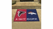 "Fan Mats 19569  NFL - Atlanta Falcons vs Denver Broncos 33.75"" x 42.5"" House Divided Mat"