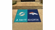 "Fan Mats 19673  NFL - Miami Dolphins vs Denver Broncos 33.75"" x 42.5"" House Divided Mat"