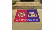 "Fan Mats 20397  Louisiana at Lafayette Ragin' Cajuns vs LSU - Louisiana State Tigers 33.75"" x 42.5"" House Divided Mat"