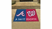 "Fan Mats 20398  MLB - Atlanta Braves vs Washington Nationals 33.75"" x 42.5"" House Divided Mat"