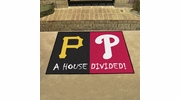 "Fan Mats 20400  MLB - Pittsburgh Pirates vs Philadelphia Phillies 33.75"" x 42.5"" House Divided Mat"