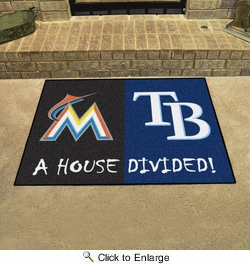 "Fan Mats 20401  MLB - Miami Marlins vs Tampa Bay Rays 33.75"" x 42.5"" House Divided Mat"
