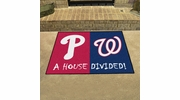 "Fan Mats 20404  MLB - Philadelphia Phillies vs Washington Nationals 33.75"" x 42.5"" House Divided Mat"