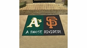 "Fan Mats 20405  MLB - Oakland Athletics vs San Francisco Giants 33.75"" x 42.5"" House Divided Mat"