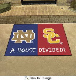 "Fan Mats 20503  Notre Dame Fighting Irish vs Southern Cal Trojans 33.75"" x 42.5"" House Divided Mat"