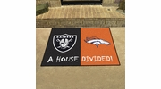 "Fan Mats 20555  NFL - Oakland Raiders vs Denver Broncos 33.75"" x 42.5"" House Divided Mat"