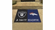 "Fan Mats 20556  NFL - Denver Broncos vs Oakland Raiders 33.75"" x 42.5"" House Divided Mat"