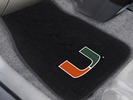 Fan Mats 20609  University of Miami Hurricanes 2-pc Embroidered Car Mat Set
