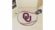 "Fan Mats 2387  OU - University of Oklahoma Sooners 27"" Diameter Baseball Shaped Area Rug"