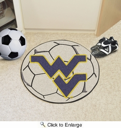 "Fan Mats 2458  WVU - West Virginia University Mountaineers 27"" Diameter Soccer Ball Shaped Area Rug"