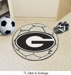 "Fan Mats 3021  UGA - University of Georgia Bulldogs 27"" Diameter Soccer Ball Shaped Area Rug"