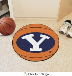 "Fan Mats 3274  BYU - Brigham Young University Cougars 27"" Diameter Basketball Shaped Area Rug"