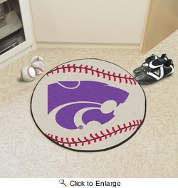 "Fan Mats 3738  KSU - Kansas State University Wildcats 27"" Diameter Baseball Shaped Area Rug"