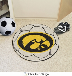 "Fan Mats 3892  UI - University of Iowa Hawkeyes 27"" Diameter Soccer Ball Shaped Area Rug"