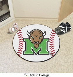 "Fan Mats 3913  Marshall University Thundering Herd 27"" Diameter Baseball Shaped Area Rug"