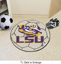 "Fan Mats 3947  LSU - Louisiana State University Tigers 27"" Diameter Soccer Ball Shaped Area Rug"