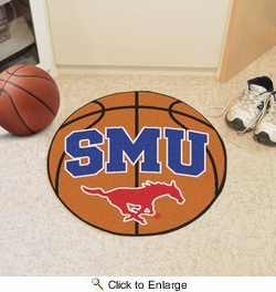 "Fan Mats 4578  SMU - Southern Methodist University Mustangs 27"" Diameter Basketball Shaped Area Rug"