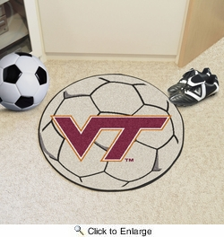 "Fan Mats 4583  VT - Virginia Tech Hokies 27"" Diameter Soccer Ball Shaped Area Rug"