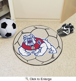 "Fan Mats 4895  Fresno State Bulldogs 27"" Diameter Soccer Ball Shaped Area Rug"