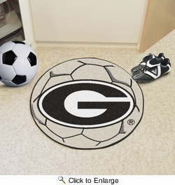 "Fan Mats 4990  UGA - University of Georgia Bulldogs with ""G"" Logo 27"" Diameter Soccer Ball Shaped Area Rug"