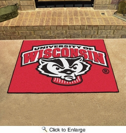 "Fan Mats 5123  University of Wisconsin Badgers 33.75"" x 42.5"" All-Star Series Area Rug / Mat"