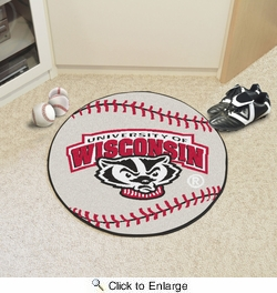 "Fan Mats 5179  University of Wisconsin Badgers 27"" Diameter Baseball Shaped Area Rug"