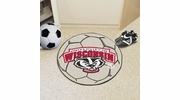 "Fan Mats 5180  University of Wisconsin Badgers 27"" Diameter Soccer Ball Shaped Area Rug"