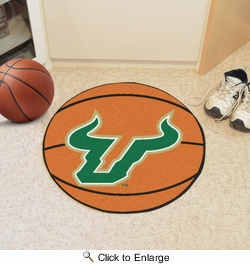 "Fan Mats 536  USF - University of South Florida Bulls 27"" Diameter Basketball Shaped Area Rug"