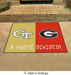 "Fan Mats 6001  Georgia Tech Yellow Jackets vs Georgia Bulldogs 33.75"" x 42.5"" House Divided Area Rug / Mat"
