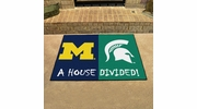 "Fan Mats 6032  Michigan Wolverines vs Michigan State Spartans 33.75"" x 42.5"" House Divided Area Rug / Mat"