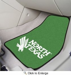 "Fan Mats 6118  UNT - University of North Texas Mean Green 17"" x 27"" Carpeted Car Mat Set"