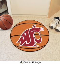"Fan Mats 626  WSU - Washington State University Cougars 27"" Diameter Basketball Shaped Area Rug"
