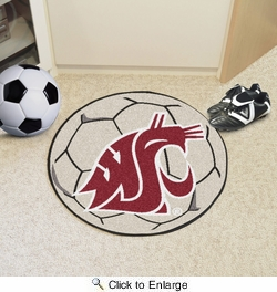 "Fan Mats 628  WSU - Washington State University Cougars 27"" Diameter Soccer Ball Shaped Area Rug"
