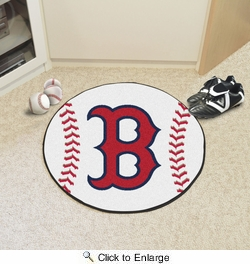 "Fan Mats 6332  MLB - Boston Red Sox 27"" Diameter Baseball Shaped Area Rug"