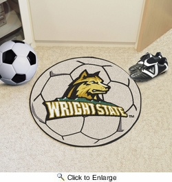 "Fan Mats 700  Wright State University Raiders 27"" Diameter Soccer Ball Shaped Area Rug"