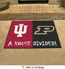 """Fan Mats 7099  Indiana Hoosiers vs Purdue Boilermakers 33.75"""" x 42.5"""" House Divided Area Rug / Mat"""