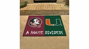 "Fan Mats 7115  Florida State Seminoles vs Miami Hurricanes 33.75"" x 42.5"" House Divided Area Rug / Mat"
