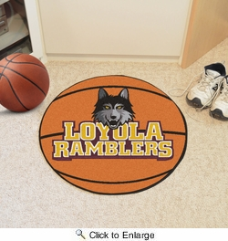 "Fan Mats 75  Loyola University Chicago Ramblers 27"" Diameter Basketball Shaped Area Rug"