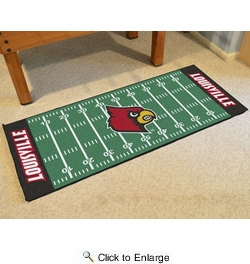 "Fan Mats 7547  University of Louisville Cardinals 30"" x 72"" Football Field-Shaped Runner Rug"