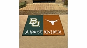 "Fan Mats 7651  Baylor Bears vs Texas Longhorns 33.75"" x 42.5"" House Divided Area Rug / Mat"