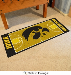 "Fan Mats 8257  UI - University of Iowa Hawkeyes 30"" x 72"" NCAA Basketball Court-Shaped Runner Rug"