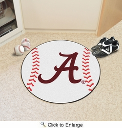 "Fan Mats 8300  UA - University of Alabama Crimson Tide 27"" Diameter Baseball Shaped Area Rug"