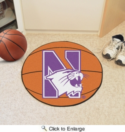 "Fan Mats 833  Northwestern University Wildcats 27"" diameter Basketball Mat"