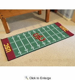 "Fan Mats 8459  USC - University of Southern California Trojans 30"" x 72"" Football Field-Shaped Runner Rug"